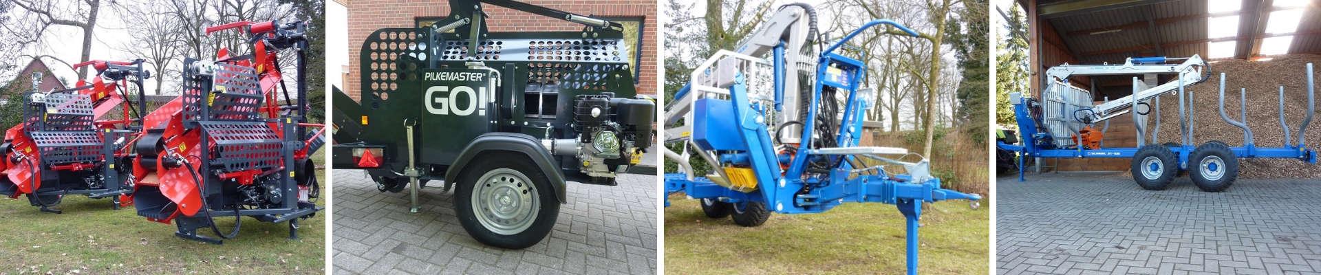Wir sind Ihr kompetenter Ansprechpartner in Norddeutschland für robuste Rückewagen, Forstkräne und Greifer sowie Sägespaltautomaten für den professionellen Einsatz im Wald.